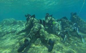 US-Marines unter dem Kommando des Marine Special Operations Command und Green Berets 3rd Special Forces Group (Airborne) im Roten Meer während eines Übungstauchganges als Teil von Eager Lion 2015. Bild: U.S. Army/Sgt. Edward French IV – Facebook