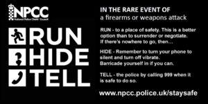 Verhaltensregeln der britischen Polizei für den Fall eines Anschlages mit Schusswaffen Bildnachweis: NPCC